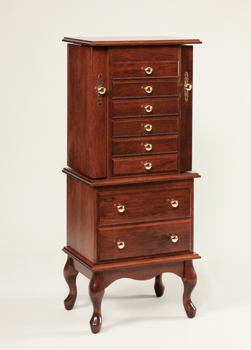 Incroyable 111 48 Split Queen Anne Jewelry Armoire, Cherry