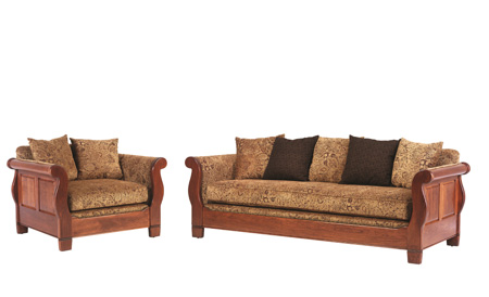 ... Sleigh Chair And Sofa W Pillow Back