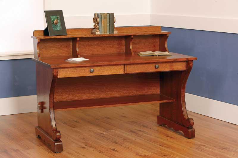 village mission desk w top shelf. Black Bedroom Furniture Sets. Home Design Ideas